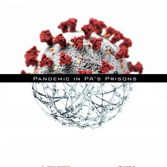 Cover of a report reads Pandemic in PA's Prisons