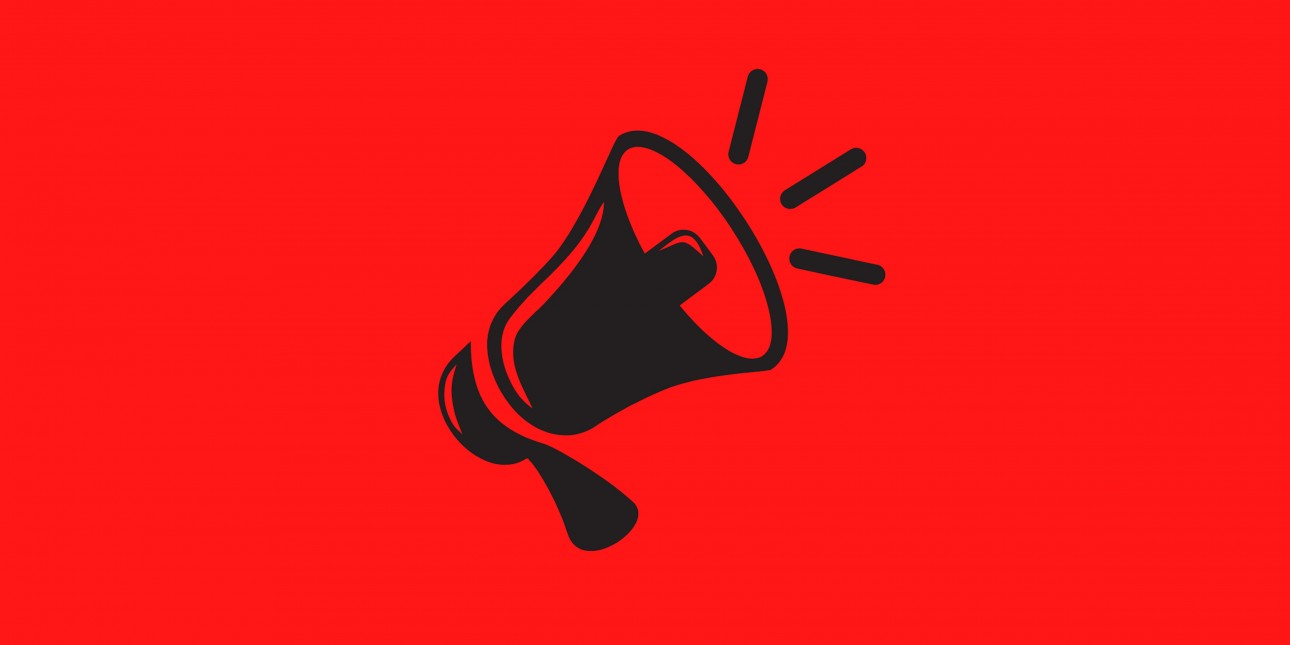 a megaphone is displayed on a black background
