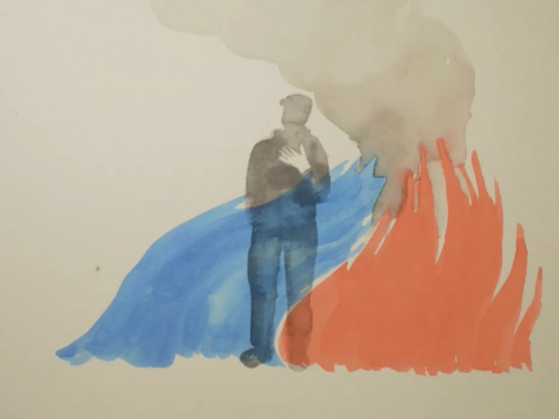 An animated image depicts a silouheute of a man behind a wave of water putting out a raging fire